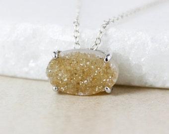 50% OFF SALE - Brown Sugar Vanilla Druzy Pendant Necklace - Oval Cut - Choose Your Druzy