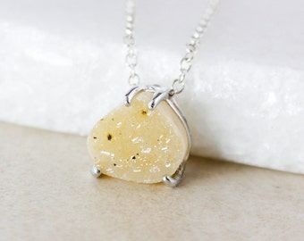 Yellow Pear-Shaped Druzy Necklace - Choose Your Druzy - 925 Sterling Silver