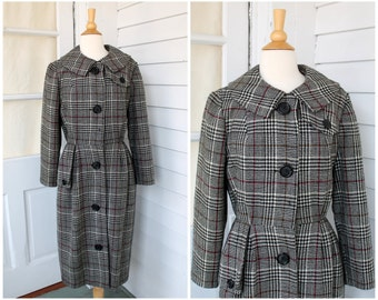 Plaid Wool Coat - Round Collar Mid Century Jacket - Vintage 1960s 60s