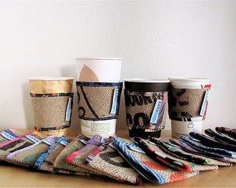 Maxine's Mumu Coffee Drink Cozy - Floral Upcycled Burlap Fabric Coffee Cup Sleeve - Reversible Coffee Cuff - Coworker Under 10 Her Eco Gift