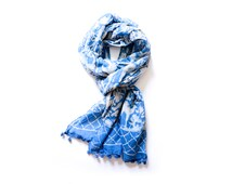 Indigo Scarf Fall Scarf blue and white, Block print Cotton Scarf with pom poms SKINNY, Women Fashion Accessories Gift Ideas For Her - baagh