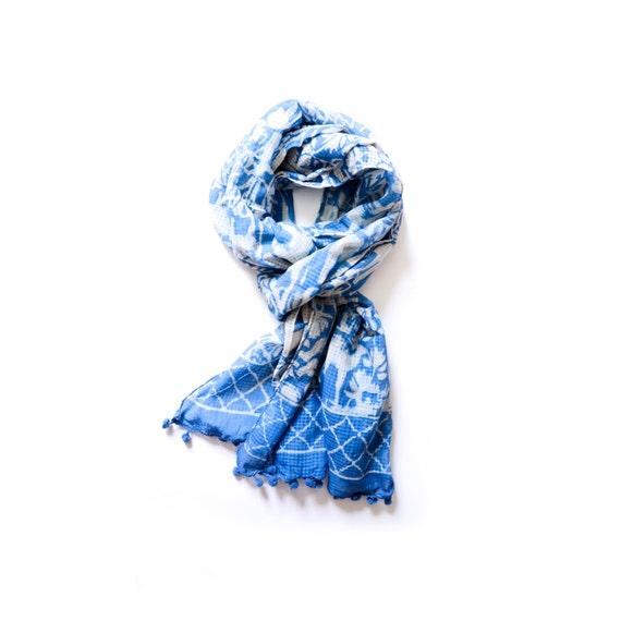 indigo scarf fall scarf blue and white block print by ichcha