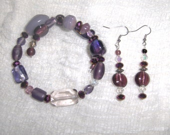 Vivid Violet Glass and Ceramic Bead Handmade Bracelet and Earring Set