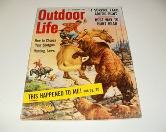 Outdoor Life Magazine September 1959 - Old Ads, Paper Ephemera,Very Vintage Gun Ads, Hunting Stories, Collectible