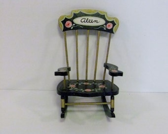 Vintage Miniature Rocking Chair, Small Chair, Doll chair, Tiny Rocker, Black hand painted, Flowers, Doll House chair, collectiable chair