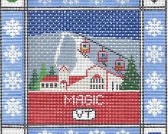 Magic Mountain Needlepoint Pillow