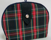 Tartan / Plaid Tea Cozy/ Cosie with Epaulet and Silver Button