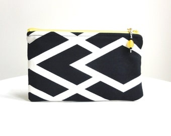 Black and White Geometric Clutch / Zippered Bag with Beaded Pull - READY TO SHIP