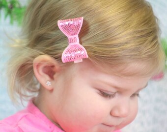 Pink Sequin Hair Bow, Girl's Sequin Hair Bow, Girls Hair Bow, Toddler Pink Hair Bow, Baby Hair Bow, Girl's Hair Accessories, Pink Hair Bow