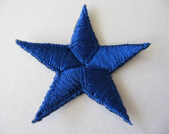blue nautical star patch embroidered military appliqué vintage jacket patch iron on star new old stock