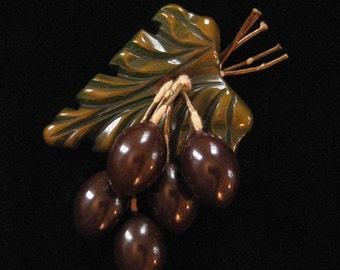 Bakelite Olives on Stem Brooch, 1930's