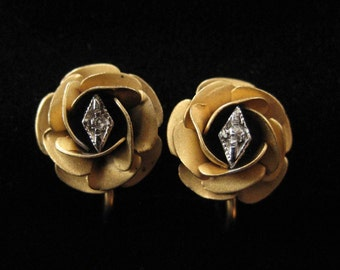 Gold Filled Rose Earrings with Clear Gem, Screw Back Earrings
