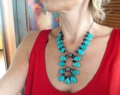 Statement Necklace, Statement Pendant, Turquoise, Chunky, Big, Modern, Contemporary, Large, Margaret Mordzinski