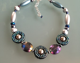 Statement Necklace, Contemporary, Blue, Purple, Silver, Chunky, Big and Bold, Modern, Circle, Pearl