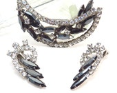 Jet Black and Crystal Rhinestone Brooch and Earring Set Vintage 1950s Stunning Quarter Moon Broach Set