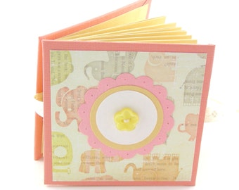 Tumbling Elephants Mini Photo Book, 2x3 wallets - tangerine, yellow, taupe