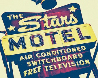 Chicago Photography - vintage motel sign, Stars Motel Photograph, retro Chicago, Americana, yellow, purple wall art print, home decor,