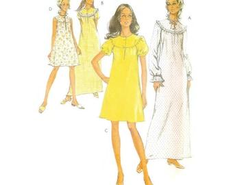1970s Nightgown Pattern Simplicity Patterns 3081 B38 - B40
