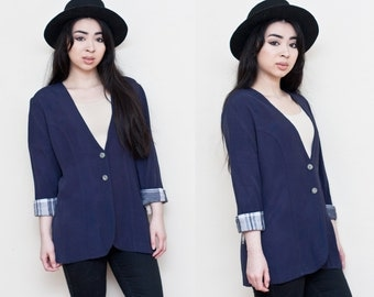 Plaid Cuff Navy Blue Oversized Blazer Jacket S M