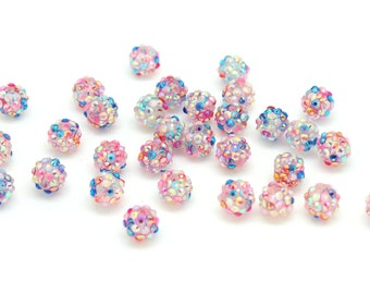 10 Confetti Rainbow Chunky Gumball Beads, 12mm  Resin Rhinestone Beads