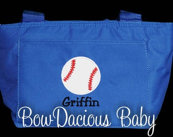 Baseball Lunch Bag, Baseball Lunch Tote, Baseball Lunch Box, Boys Lunch Bag, Baseball Cooler, Custom Lunch Bag, Personalized Lunch Tote