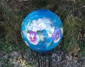 """8"""" Blue Gazing Ball w/ Pansies"""
