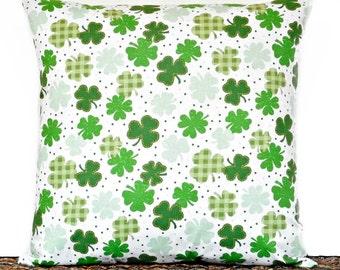 Shamrocks Pillow Cover Cushion St. Patricks Irish Kelly Green Polka Dots Plaid White Decorative 18x18