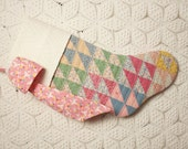 Beautiful Colors and Fabrics Vintage Quilt and Vintage-Style Eyelet Heirloom Christmas Stocking