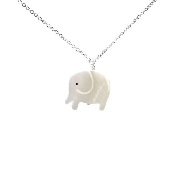 White Elephant Necklace, Lucky Elephant Necklace, Silver or Gold Necklace, Lucky Jewelry, Silver Jewelry, Gift Ideas for Elephant Lovers