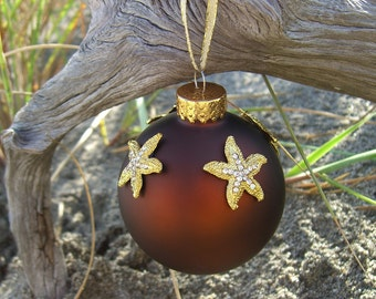 Starfish Holiday Ornament-GOLDEN HOLIDAY-Beach Christmas Decor, Holiday Decor, Beach Wedding Favors, Ornaments, Brown Home Decor, Ocean