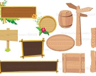 Digital Instant Download Wooden Signs- Clip Art - Wooden Barrel - Wood Directional Sign