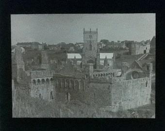 Vintage magic lantern slide of St Davids, Wales