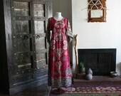 vintage pink dashiki maxi dress