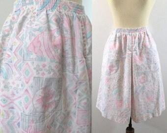 1980s Culottes High Waist Shorts Skorts White Sea Life Print Gauchos Vintage 80s Retro Wide Leg Rise Waisted Pastel Small Medium Jantzen