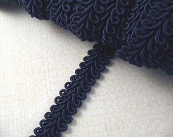 Navy Blue Vintage Trim Braid Edging - Navy Blue Gimp Braided Fabric Trimming