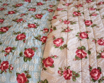 Lovely Reversible Blue and Grey with Red Roses Mid Century Whole Cloth Quilt - Beautiful Hand Quilting