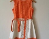 Vintage 60s sun dress orange polka dot girls women's mini white wrap skirt 12 years XS