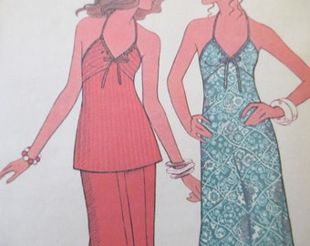 70s Dress or Top and Pants Pattern, Size 14