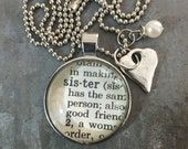Vintage Dictionary Word Necklace SISTER with charms