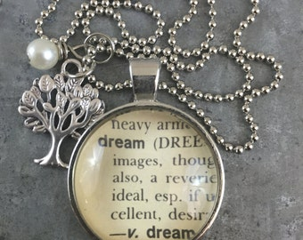 One Word Dictionary Necklace- Dream with Tree Charm