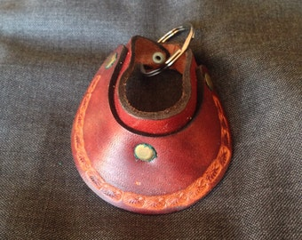 Vintage Tooled Leather Eagle Pattern Visor Hat Keychain - Dead Stock
