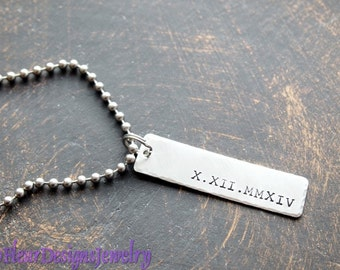 Roman Numeral Date Necklace, Remember the Date Charm Necklace, Roman Numeral Date Pendant