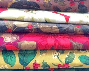 Martha Negley Holiday Christmas fabric, half yard bundle, OOP, pointsettias,holly, ivy, red green fabric,