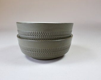 2 Denby Chevron Camelot Bowls Cereal Fruit Bowls Made in England Dark Olive Green 1960s 1970s