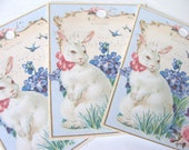 White Easter Bunny Gift TAgs , Set of 6 , Vintage Style Tags , Easter Rabbit Tags , Easter Gift Tags , Holiday Tags , Spring Tags