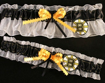 Boston Bruins NHL Hockey Garter Set, Can Be Personalized