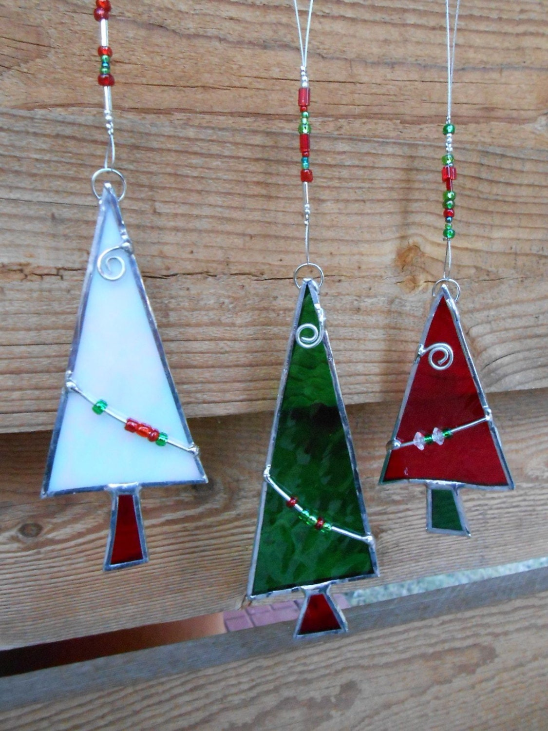 Stained glass christmas tree ornaments red green