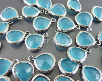 2 ocean blue 10mm glass pendants with silver textured bezel frame, glass jewelry 5064R-OB-10 (bright silver, ocean blue, 10mm, 2 pieces)