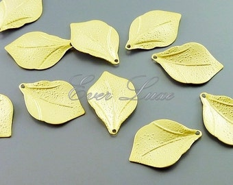 4 textured leaf charms, jewelry / jewellery making supplies, necklace, bracelet charms, craft supplies 1065-MG (matte gold, 4 pieces)