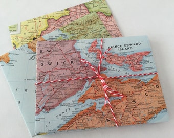 8 vintage map envelopes + notecards
